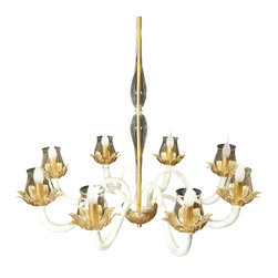 Logicsun/Riviera - Florian - Wow. From the Murano glass blown by Venetian master glassmakers, to the wrought iron arms and accents richly finished in gold and ivory, this magnificent chandelier is truly breathtaking. Imagine how spectacular it would look in your formal dining room or foyer.