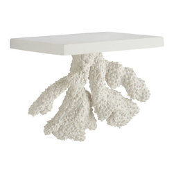 Floating Coral Shelf - Atlantis - Made of plaster, this handy coral shelf is definitely what one would call an item where form meets function. It has keyhole nail mounts on the back, so it acts as a floating shelf, but the textures of the Atlantis coral beneath will cast interesting shadows making you feel like your scuba diving in the great Coral Reef.