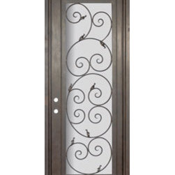 "Orvieto 36x96 Forged Iron Single Door 14 Gauge Steel - ""SKU#    PHBFOSR4Brand    GlassCraftDoor Type    ExteriorManufacturer Collection    Buffalo Forge Steel DoorsDoor Model    OrvietoDoor Material    SteelWoodgrain    Veneer    Price    3850Door Size Options      $Core Type    one-piece roll-formed 14 gauge steel doors are foam filled  Door Style    TraditionalDoor Lite Style    Full LiteDoor Panel Style    Home Style Matching    Mediterranean , Victorian , Bay and Gable , Plantation , Cape Cod , Gulf Coast , ColonialDoor Construction    Prehanging Options    PrehungPrehung Configuration    Single DoorDoor Thickness (Inches)    1.5Glass Thickness (Inches)    Glass Type    Double GlazedGlass Caming    Glass Features    Insulated , TemperedGlass Style    Glass Texture    Clear , Glue Chip , RainGlass Obscurity    Door Features    Door Approvals    Wind-load RatedDoor Finishes    Three coat painting process"