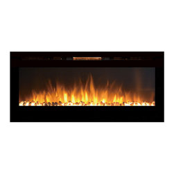 """Moda Flame - 50"""" Cynergy Crystal Stone Built-In Wall Mounted Electric Fireplace - If you want to add a dynamic and vivacious vibe to a room, the built-in Destiny Crystal Cynergy fireplace will do that and more. Its perfect length and proportion, as well as sleek design makes it the showpiece of any room. The realistic flame pattern coupled with its innovative style crystals, makes the Cynergy fireplace the most revolutionized and cutting-edge on the market."""