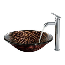 Vigo Industries - Caramel Vessel Sink with Faucet - Includes all mounting hardware, hot or cold waterlines.