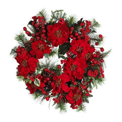 "24"" Poinsettia Wreath - Bursting with bright reds, lush greens, and plump berries, this incredible wreath embodies the festive delight that is the holiday season. A full 24"" round, it certainly commands attention, and serves as the perfect holiday welcoming plant on your front door (or anywhere else you wish to bring some holiday cheer!) Height= 24 in Round x Width= 24 in Round x Depth= 7 in"