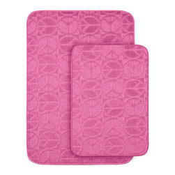 Sands Rug - Peace, Love & Pink Bath Rug (Set of 2) - Protect young toes and add comfort and color to your child's or pre-teen's bath with these fun, durable and machine washable bath rugs. The polypropylene fabric is stain-resistant and soft, while the non-skid rubber backing holds rugs in place for safety.