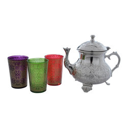 """Divine Designs - Multi-colored Nickle plated Moroccan Tea Set - """"This stunning Moroccan Tea Set offer a new and unique experience to dining. The vibrant colors and distinguishing designs are stylish and will most certainly impress any house guest while entertaining."""