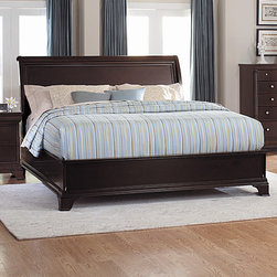 Woodbridge Home Designs - Inglewood Panel Bed - Features: -Dust proof panel.-Inglewood Collection.-Powder Coated Finish: No.-Gloss Finish: No.-Finish: Deep cherry.-Frame Material: Wood; Manufactured wood -Frame Material Details: Poplar and MDF..-Solid Wood Construction: No.-Upholstered: No.-Number of Items Included: 3.-Non Toxic: Yes.-Scratch Resistant: No.-Joinery Type: Groove.-Mattress Included: No.-Recommended Mattress Height: 8.-Box Spring Required: Yes -Boxspring Included: No..-Headboard Storage: No.-Footboard Storage: No.-Underbed Storage: No.-Slats Required: Yes -Number of Slats Required: 3.-Slats Included: Yes..-Center Support Legs: Yes.-Adjustable Headboard Height: Yes.-Adjustable Footboard Height: No.-Wingback: No.-Trundle Bed Included: No.-Attached Nightstand: No.-Cable Management: No.-Built in Outlets: No.-Lighted Headboard: No.-Finished Back: No.-Reclaimed Wood: No.-Number of Center Support Legs: 2.-Distressed: No.-Bed Rails Included: Yes.-Collection: Inglewood.-Eco-Friendly: Yes.-Recycled Content: Yes -Total Recycled Content (Percentage): 60%.-Post-Consumer Content (Percentage): 30%.-Remanufactured/Refurbished : No..-Wood Moldings: No.-Canopy Frame: No.-Hidden Storage: No.-Jewelry Compartment: No.-Weight Capacity: 550.-Swatch Available: No.-Commercial Use: No.Specifications: -FSC Certified: No.-EPP Compliant: Yes.-CPSIA or CPSC Compliant: No.-CARB Compliant: Yes.-JPMA Certified: No.-ASTM Certified: No.-ISTA 3A Certified: No.-PEFC Certified: No.-General Conformity Certificate: No.-Green Guard Certified: No.Dimensions: -Overall Height - Top to Bottom (Size: California King): 65.25.-Overall Height - Top to Bottom (Size: King): 65.25.-Overall Height - Top to Bottom (Size: Queen): 65.25.-Overall Width - Side to Side (Size: California King): 76.-Overall Width - Side to Side (Size: King): 80.-Overall Width - Side to Side (Size: Queen): 64.-Overall Depth - Front to Back (Size: King): 84.-Overall Depth - Front to Back (Size: Queen): 84.-Overall Product Weight (Size: California King): 261.14.-Overall Product Weight (Size: King): 253.-Overall Product Weight (Size: Queen): 234.3.-Headboard Dimensions Height (Size: California King): 65.25.-Headboard Dimensions Height (Size: King): 65.2564.-Headboard Dimensions Height (Size: Queen): 65.25.-Headboard Width Side to Side (Size: California King): 76.-Headboard Width Side to Side (Size: King): 80.-Headboard Width Side to Side (Size: Queen): 64.-Headboard Depth Front to Back (Size: California King): 4.-Headboard Depth Front to Back (Size: King): 4.-Headboard Depth Front to Back (Size: Queen): 4.-Footboard Height (Size: California King): 17.5.-Footboard Height (Size: King): 17.5.-Footboard Height (Size: Queen): 36.-Footboard Width - Side to Side (Size: California King): 76.-Footboard Width - Side to Side (Size: King): 80.-Footboard Width - Side to Side (Size: Queen): 64.-Footboard Depth - Front to Back (Size: California King): 4.-Footboard Depth - Front to Back (Size: King): 4.-Footboard Depth - Front to Back (Size: Queen): 4.-Top of Headboard to Bedframe (Size: California King): 40.-Top of Headboard to Bedframe (Size: King): 40.-Top of Headboard to Bedframe (Size: Queen): 53.25.-Bottom of Side Rail to Floor (Size: California King): 6.-Bottom of Side Rail to Floor (Size: King): 5.5.