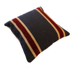 Navy Pillow with Red Stripe -