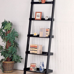 Coaster - Black Casual Bookcase - Home office slant wall unit. The perfect solution for your laptop or writing desk. This open style desk makes great use of space, both black rub through finish.