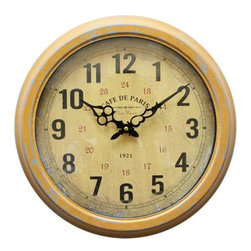 YOSEMITE HOME DECOR - 16 in. Circular Iron Wall Clock distressed yellow iron frame - There is nothing mellow about this mellow yellow circular wall clock. The yellow color finish has the appearance of being time worn. The Dial features a similarly worn finish in a cream color with black numbers and CAF��_ DE PARIS just under the twelve o'clock. The hands  are a glossy black finish allowing them to stand out against the dial giving it the perfect touch.