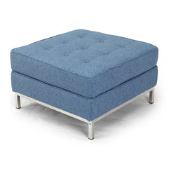 Kardiel Florence Knoll Style Ottoman, Azure Houndstooth Twill - Complete the reproduction Florence Knoll 1956 Sofa Set with the matching FK Square Ottoman. Often hard to find, the FK ottoman accessory is created with the highest accuracy of detail to the original. Now you can have your own version of one of the most influential designer icons of the 20th century. The aesthetically correct ottoman completes the Knoll Sofa set pieces and the style perfectly compliments today's modern home. The ottoman is perfect for lounging or as an extra seating space when socializing.
