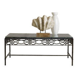"""Hooker Furniture - Hooker Furniture Melange Raylen Cocktail Table - Glass and a hand-crafted metal design combine for an artful look in the Raylen Cocktail Table. Metal and Glass. Dimensions: 48""""W x 28""""D x 20""""H."""