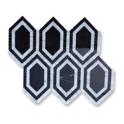 Sample-Infinity Nero Hexagon With Asian Statuary Marble Tile Sample - Sample-Infinity Nero Hexagon With Asian Stataury Marble Tile Sample   Samples are intended for color comparison purposes, not installation purposes.    -Glass Tiles -