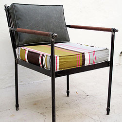 Casa Midy Altamura Campaign Chair - The colorful cushion and simple lines of this armchair make it a winner. I could see it at a table on the screened in porch, what a great chair to lounge in...