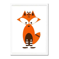 Kshoo Design - Mrs. Fox Art Print (Frame Not Included) - -Art print digitally created