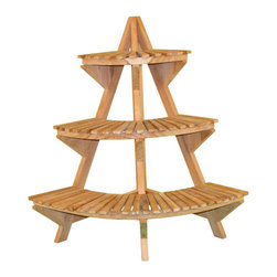 Teak Corner Plant Stand - This stand will make efficient use of the space on your patio or porch with this teak wood corner plant stand made by Jewels of Java.