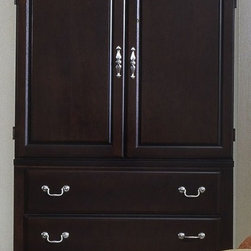 Vaughan Bassett - 2-Drawer Armoire & Entertainment Center in Me - 2 Drawers. 2 Doors. TV shelf. VCR storage. Adjustable shelf. Perforated back panel. Merlot finish. Assembly required. 40 in. W x 21.5 in. D x 62 in. H. TV opening: 36 in. W x 18 in. D x 23 in. H