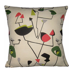 """Mid Century Home USA - Atomic Pillow Cover """"Mobile Madness"""" Retro Mad Men Mid Century - Very unique Atomic pillow cover.  So """"Mad Men""""!  Mobiles jump around on this atomic design.  The fabric used to make this pillow cover is from the 1950's.  It is heavy-weight, nicely textured barkcloth.  Colors include coral, greens and black on a light cream background. Sized for 18"""" insert.  This would be the perfect addition to your Mid Century Modern Home or to your Modern home if you want an updated look.   The back is constructed of pink duck cloth canvas with an envelope closure.  The seams are professionally serged to prevent fraying.  Mad by :  Mid Century Home USA"""
