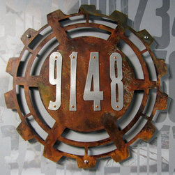Address Plaques - CUSTOM Steampunk House Numbers in Rusted Steel & Stainless