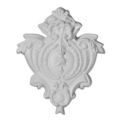 """Ekena Millwork - 5 1/2""""W x 6 3/4""""H Hillsborough Center Onlay - 5 1/2""""W x 6 3/4""""H Hillsborough Center Onlay. Our appliques and onlays are the perfect accent pieces to cabinetry, furniture, fireplace mantels, ceilings, and more. Each pattern is carefully crafted after traditional and historical designs. Each polyurethane piece is easily installed, just like wood pieces, with simple glues and finish nails. Another benefit of polyurethane is it will not rot or crack, and is impervious to insect manifestations. It comes to you factory primed and ready for your paint, faux finish, gel stain, marbleizing and more."""