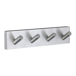 Smedbo - House Quadruple Towel Hook in Brushed Chrome Finish - Concealed fastening. 7 in. W x 1.75 in. H