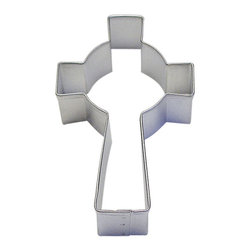 "RM - Celtic Cross Tin Cookie Cutter 3.5"" B1168X - Celtic Cross cookie cutter, made of sturdy tin, Size 3.5"" tall, 2.1"" width at the cross beam. Depth 7/8 in., Color silver"