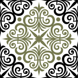 Odhams Press - Chartwell Olive RETile Decal, Clear Background - RETile decals can be used to accent or transform your existing ceramic, stone or glass tiles. They are easy to apply and can be removed in the future without leaving a sticky residue.