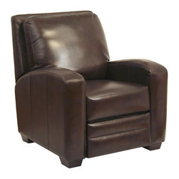 Catnapper - Avanti Multi-Position Recliner (Chocolate) - Color: ChocolateReal leather everywhere your body touches. Known as leather with matching vinyl. Elegantly sloped radius arms. Relaxing picture frame back . Effortless handle-free recliner. Unitized steel base. 100% Steel seat box. No warping or splitting in this critical area (standard on most models). Reclining Mechanism:. Installed with noiseless sure-lock spring clips. Strongest recliner seat box available. Direct drive cross bar ensures that both sides of the mechanism operate together, in sequence, for longer life. Heavy 8-gauge sinuous steel springs in the seat provide strength, comfort and flexibility. Made of bonded leather and vinyl. Pictured in Chocolate. No assembly required. Limited lifetime warranty. 35 in. L x 37 in. W x 39 in. H (83 lbs.)
