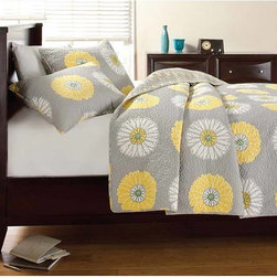 None - Anya Floral Print 3-piece Quilt Set - The Anya Floral Print Quilt Set has a romantic whimsy of florals with the modernity of an edgy grey and bright yellow color combination. This floral bedding mixes patterns and textures for a professionally designed effect.