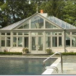 Hipped Conservatory for Pool Landscaping Ideas -