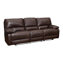 Coaster - Coaster Geri Transitional Reclining Motion Sofa in Leather Match Brown - Coaster - Sofas - 600021S
