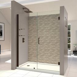 DreamLine - DreamLine SHDR-20537210S-06 Unidoor 53 to 54in Frameless Hinged Shower Door, Cle - The Unidoor from DreamLine, the only door you need to complete any shower project. The Unidoor swing shower door combines premium 3/8 in. thick tempered glass with a sleek frameless design for the look of a custom glass door at an amazing value. The frameless shower door is easy to install and extremely versatile, available in an incredible range of sizes to accommodate shower openings from 23 in. to 61 in.; Models that fit shower openings wider than 31 in. have an adjustable wall profile which allows for width or out-of-plumb adjustments up to 1 in.; Choose from the many shower door options the Unidoor collection has to offer for your bathroom renovation. 53 - 54 in. W x 72 in. H ,  3/8 (10 mm) thick clear tempered glass,  Chrome, Brushed Nickel or Oil Rubbed Bronze hardware finish,  Frameless glass design,  Width installation adjustability: 53 - 54,  Out-of-plumb installation adjustability: Up to 1 in. one side (total 1 in.),  Self-closing solid brass wall mount hinges,  Stationary glass panel with two glass shelves,  Door opening: 28 in.,  Stationary panel: 24 in.,  Material: Tempered Glass, Aluminum