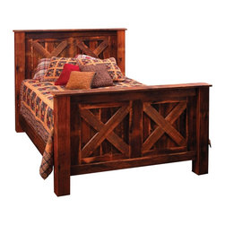 Fireside Lodge Furniture - Barnwood Complete Barndoor Panel Bed (Double) - Choose Size: DoubleBarnwood Collection. Mattress, bed sheet, shams and pillows not included. All headboards are 61 in. H and Footboards are 35 in. H. Full length hard wood rails for a sturdy construction. King and queen beds come standard with a T-support. Built with authentic reclaimed Red Oak planks from 1800's tobacco barns . Clear-coat catalyzed lacquer finish for extra durability. 2-Year limited warranty. Single: 86 in. L x 44 in. W x 55 in. H (280 lbs.). Double: 86 in. L x 59 in. W x 55 in. H (340 lbs.). Queen: 91 in. L x 65 in. W x 55 in. H (370 lbs.). King: 91 in. L x 83 in. W x 55 in. H (420 lbs.). California king: 96 in. L x 77 in. W x 55 in. H (420 lbs.). Optional underbed drawers: 75 in. L x 28 in. W x 12.5 in. H (110 lbs.)