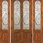 """Knotty Alder Entry Prehung Door with Two Sidelites, Twin Lite - SKU#SW-90_1-2BrandAAWDoor TypeExteriorManufacturer CollectionWestern-Santa Fe Entry DoorsDoor ModelDoor MaterialWoodWoodgrainKnotty AlderVeneerPrice2804Door Size Options[30""""+2(18"""") x 80""""] (5'-6"""" x 6'-8"""")  $0[32""""+2(18"""") x 80""""] (5'-8"""" x 6'-8"""")  $0[36""""+2(18"""") x 80""""] (6'-0"""" x 6'-8"""")  +$10[42""""+2(18"""") x 80""""] (6'-6"""" x 6'-8"""")  +$80Core TypeSolidDoor StyleRusticDoor Lite StyleTwin LiteDoor Panel Style2 PanelHome Style MatchingSouthwest , Log , Pueblo , WesternDoor ConstructionTrue Stile and RailPrehanging OptionsPrehungPrehung ConfigurationDoor with Two SidelitesDoor Thickness (Inches)1.75Glass Thickness (Inches)1/4Glass TypeSingle GlazedGlass CamingGlass FeaturesGlass StyleGlass TextureClearGlass ObscurityDoor FeaturesDoor ApprovalsDoor FinishesDoor AccessoriesWeight (lbs)850Crating Size25"""" (w)x 108"""" (l)x 52"""" (h)Lead TimeSlab Doors: 7 daysPrehung:14 daysPrefinished, PreHung:21 daysWarranty1 Year Limited Manufacturer WarrantyHere you can download warranty PDF document."""