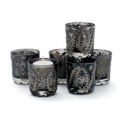 Set of Six The Mood Votive Holders - Give your home a illuminated effect with Country Chic Mood Votive Holders. Manufactured from glass with an antiqued smoky etched finish, these candle holders are perfect addition for your living space. These candle holders are embossed with colorful designs over it that makes it more alluring. Flaunt your sophisticated class and taste with these mood votive holders. You can arrange these as per your preferences to add an aesthetic feel to your ambience. These candleholders are sure to grab the attention of every visitor and will make you showered with appreciation for your tasteful selection of home furnishing items.