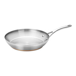 Anolon - Anolon Nouvelle Copper Stainless Steel 12 Inch Skillet - Enjoy the benefits of skillet cooking in this beautiful pan. The wide diameter allows for easy access, whether to toss and turn ingredients, check for doneness, or easily slide foods out of the pan and onto the plate. The generous size can accommodate larger quantities with ease, so its simple to sear a dry-rub steak, prepare chops for four, or make a family-sized skillet supper.