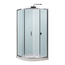 BathAuthority LLC dba Dreamline - Solo Frameless Sliding Shower Enclosure and Slim Line Quarter Round Shower Base - This kit combines a Solo shower enclosure with a Slim Line shower base for a complete shower transformation. The Solo quarter round shower enclosure opens up the look of a smaller bathroom. The sliding door creates a comfortably wide opening without claiming the space required for a swing door. A Slim Line shower base adds sleek modern look with low profile design. Choose a Dream Line shower kit for an efficient and cost effective bathroom renovation solution.