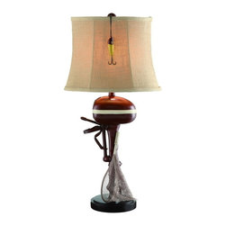 "Crestview - Crestview CVATP159 Motor Boating Table Lamp - Motor Boating Table Lamp Motor Boating Table Lamp 30""Ht.,Resin Antique Ivory&Red Finish 7/12 x 11/15 x 11 Burlap Shade  30""Ht., with 7/12 x 11/15 x 11 Burlap Shade"