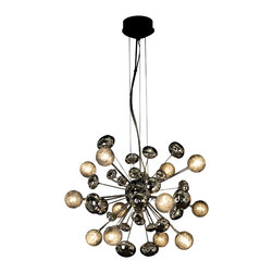 Trend Lighting - Starburst Chandelier - The beautiful baubles that this innovative chandelier features will truly wow you. Made of polished chrome and crackled glass, those bursts of design and light will add a constellation of modern elegance and illumination to any room in your home.