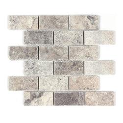 Silver Travertine Tumbled 2x4 Mosaic Tile - Silver Travertine Tumbled 2x4 Mosaic Tile http://allmarbletiles.com/kitchen-tiles/silver-travertine-tumbled-2x4-mosaic.html