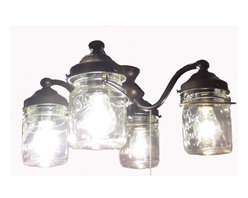 Mason Jar Ceiling Fan LIGHT KIT, Oil Rubbed Bronze - A handcrafted set of four lights. Clear, pint-size, vintage canning jars with all their own history and 'age' marks and showing off the original wire-bail and raised lettering. All on a standardize ceiling fan light kit with installation instructions..