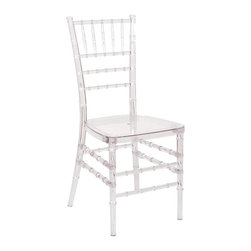 "PRE Sales - Chiavari Chair in Clear - Set of 4 - Set of 4 Includes 4 chairs. Built with durable low maintenance resin. Never needs touch up paint. Chairs are furnished KD. Stronger than wood chairs with higher load capacity. Stackable for easy transport and storage. Assembly required. 3 year limited warranty. 36 in. L x 16.5 in. W x 31.5 in. H (11 lbs)Chiavari chairs add elegance to your event. Black tie, ballroom parties seem to really be well suited for chiavari chairs. The name ""chiavari"", comes from a little town in Italy. Old World, European style comes into play with these chairs. Originally made only of carved wooden spindles and solid wooden seats, PRE is proud to offer chiavari chairs built with durable, resin material. You never need to re-paint or touch up these chairs ! The resin color goes all the way through. We still offer the wooden chiavaris as well, but our resin chairs are lower-maintenance and stronger than the wooden ones."