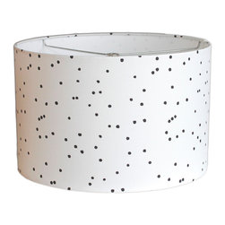 """MOOD Design Studio - Modern Lamp Shade - Nordic Winter Collection - Constellations, 14"""" - This lamp shade is part of our new """"Nordic Winter"""" collection for fall/winter 2014/15 and is called """"Constellations"""". There are actual constellation patterns scattered amongst the dots - or stars - on this fabric! You can search for Orion and the Little Dipper to start! This shade is interesting but serene and would look beautiful on that old lamp base by your bed. It would also be an attention grabbing centerpiece in your living room, front entrance or anywhere you have a lamp base that needs a refresher!"""