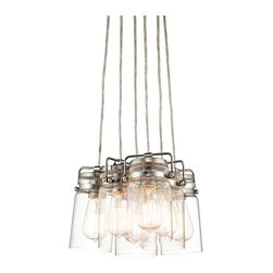 """Kichler - Industrial Kichler Brinley 12"""" Wide Brushed Nickel 6-Light Pendant - Casual industrial 6-light pendant. Brushed nickel finish. Clear glass canning jar style shades. Metal construction. Round canopy. Takes six maximum 100 watt or equivalent bulbs (not included). 12"""" wide. 7 3/4"""" high. Canopy is 5 3/4"""" wide. 72"""" lead wire. Hang weight is 10 lbs.  Casual industrial 6-light pendant.  Brushed nickel finish.  Clear glass canning jar style shades.  Metal construction.  Round canopy.  Takes six maximum 100 watt or equivalent bulbs (not included).  12"""" wide.   7 3/4"""" high.  Canopy is 5 3/4"""" wide.  72"""" lead wire.  Hang weight is 10 lbs."""