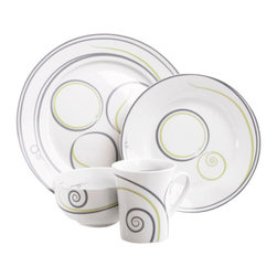 Livliga - Vivente Portion Control Dinnerware - 4 Piece, Single Place Setting - Livliga's portion control dinnerware pattern Vivente is reminiscent of grape tendrils and growing, healthy plants, in a classic dinnerware pattern that is at home on an attractive table set for dinner, or a sunny breakfast just for one. Colors are slate gray and kiwi.