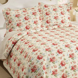 Laura Ashley - Laura Ashley Bramwell Cotton Reversible Quilt Set - 197766 - Shop for Quilts from Hayneedle.com! Create a floral retreat in your bedroom with the Laura Ashley Bramwell Cotton Reversible Quilt Set. A beautiful way to wake up every morning this quilt and pillow sham set features rose-colored blossoms on an ivory background and reverses to a crisp stripe in complementary colors. The set includes one pillow sham for the twin size and two for all other sizes. This quilt set is crafted of 100% natural cotton is machine-washable and comes in your choice of available sizes.Quilt Dimensions:Twin: 88L x 68W in.Full/Queen: 90L x 90W in.King: 104L x 96W in.About Laura AshleyLaura Ashley is the quintessential English brand and began when Laura and her husband Bernard began designing textiles at their kitchen table in 1953. Founded in Great Britain Laura Ashley is known for its historic and coveted British fabrics wallpapers and cushions. It has recently expanded to North America to offer a full range of global products for the home and garden. Laura Ashley brings to the market carefully selected quality products in a range of categories that are stylish fashionable colorful and innovative.