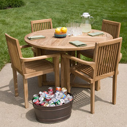 Orlando Teak Round Dining Table Set - Make the most of nice weather by dining al fresco at your Orlando Teak Round Dining Table Set. The table and four chairs are made of weather ready teak to provide years of poolside or patio enjoyment.