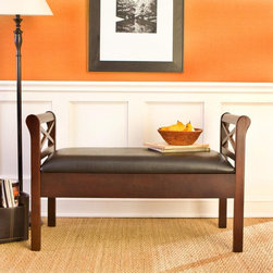 Southern Enterprises - SEI Warrenton Espresso Storage Bench with Black Faux Leather Seat Dark Brown - B - Shop for Benches from Hayneedle.com! Enhance the elegance of your home with the Espresso/Black Faux Leather Storage-Seat Bench. Ideal for the bedroom dining room kitchen hallway or entryway this stylish storage bench is a classic masterpiece. With an open back the espresso-stained frame creates an eloquent presence with its solid wood construction straight lines and tall arm rests. Measuring 18 inches high the seat is enclosed on each side with sleigh-style arms featuring decorative X braces. Lift the black PVC faux-leather seat to reveal two convenient storage bins for quilts umbrellas or crafts. Each storage space measures 18L x 16W x 4D inches. Sure to please no matter where it's located this comfortable indoor bench is a must-have for any home.About SEI (Southern Enterprises Inc.)This item is manufactured by Southern Enterprises or SEI. Southern Enterprises is a wholesale furniture accessory import company based in Dallas Texas. Founded in 1976 SEI offers innovative designs exceptional customer service and fast shipping from its main Dallas location. It provides quality products ranging from dinettes to home office furniture and more. SEI is constantly evolving processes to ensure that you receive top-quality furniture with easy-to-follow instruction sheets. SEI stands behind its products and service with utmost confidence.