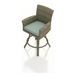 Forever Patio - Hampton Outdoor Swivel Bar Stool, Heather Wicker and Spa Cushions - The Forever Patio Hampton Modern Outdoor Wicker Swivel Bar Stool with Turquoise Sunbrella cushions (SKU FP-HAM-SBS-HT-SP) combines the fun of bar seating with the comfort of a dining armchair. The UV-protected, heather wicker sports a flat woven design, creating a contemporary look with clean lines. Each strand of this outdoor wicker is made from High-Density Polyethylene (HDPE) and is infused with its rich color and UV-inhibitors that prevent cracking, chipping and fading ordinarily caused by sunlight. This modern outdoor bar chair is supported by thick-gauged, powder-coated aluminum frames that make it more durable than natural rattan. This swivel chair includes a fade- and mildew-resistant Sunbrella cushion for added comfort to your outdoor space.