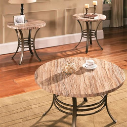 Steve Silver Co. - Ellen Faux Marble 3-Pc Occasional Table Set - Includes one cocktail table and two end tables. Multi-colored faux marble. Modern style. Curved metal legs. Sturdy gauge metal. Cocktail Table: 36 in. Dia. x 20 in. H. End table: 24 in. Dia. x 24 in. HThe Ellen 3 Pack Occasional set is the perfect look for your sun room or living room. The faux marble tops are durable and give the look of elegance. Impress your friends with the Ellen 3 Pack occasional set.