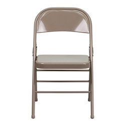 Flash Furniture - Flash Furniture Hercules Series Metal Folding Chair in Beige - Flash Furniture - Folding Chairs - HF3MC309ASBGEGG - When in need of temporary seating this heavy duty all steel beige metal chair by Flash Furniture is perfect. This portable folding chair can be used for Parties Graduations Sporting Events School Functions and in the Classroom. This chair will be the perfect addition in the home when in need of extra seating to accommodate guests. The chair will not take up anywhere near as much space as chairs that cannot fold when it comes time to clean up. This economically priced chair will endure some heavy usage with an 18-gauge steel frame triple braced and leg strengthening support bars. [HF3-MC-309AS-BGE-GG]