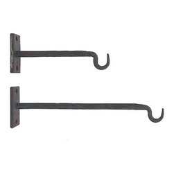 "Iron Hooks - These hooks remind me of what my dad would use in our barn growing up on the farm. Instead of hanging rope, reigns or chains, I think I'd use this in a ""farm style"" project for the bathroom as a towel hook. They are very sturdy, very rustic and very cool."